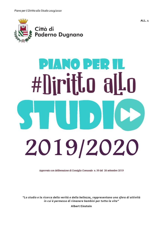 PIANO PER IL DIRITTO ALLO STUDIO 2019/2020- CITTA' DI PADERNODUGNANO